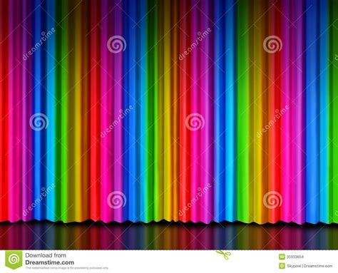 Colorful Drapes Curtains Rainbow Curtain On Theater Stage Stock Illustration