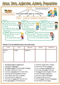 pictures nouns verbs adjectives adverbs worksheets