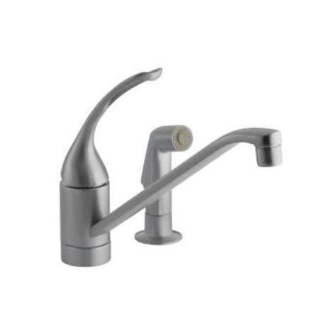 kohler single handle kitchen faucet kohler coralais single handle pull out side sprayer kitchen faucet in brushed chrome k 15176 fl