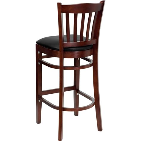 restaurant bar stools with backs mahogany finished vertical slat back wooden restaurant