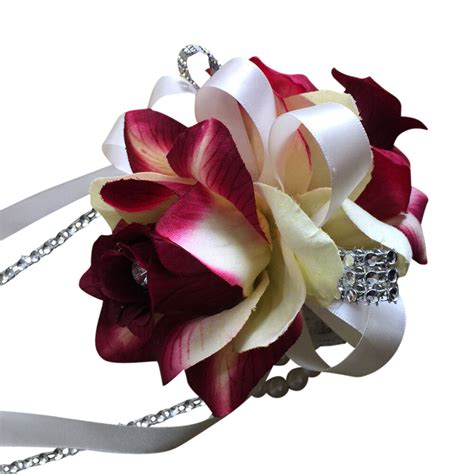 corsage colors wrist corsage shades of burgundy and ivory two