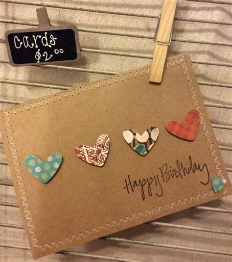 Homegrown And Handmade - birthday card fait maison cartes coeur et tons