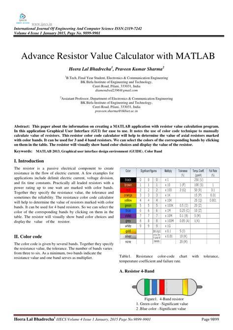4 Band Resistor Color Code Calculator Download
