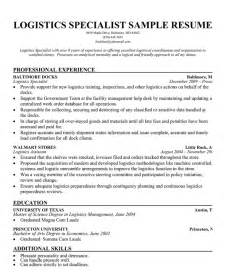 Freight Specialist Sle Resume by Logistics Specialist Resume Sle