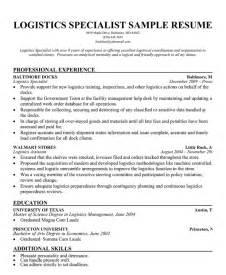 Logistics Management Specialist by Logistics Specialist Resume Sle
