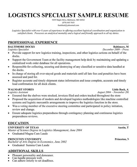 logistics management specialist resume logistics specialist resume sle