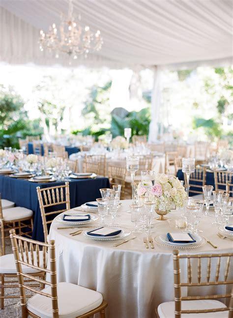 polished navy gold  blush reception decor