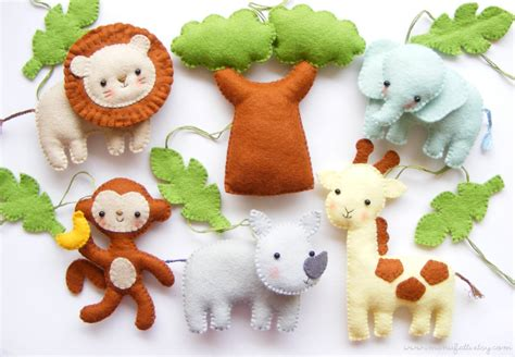 pattern for felt animals pdf pattern safari animals felt baby crib mobile ornaments