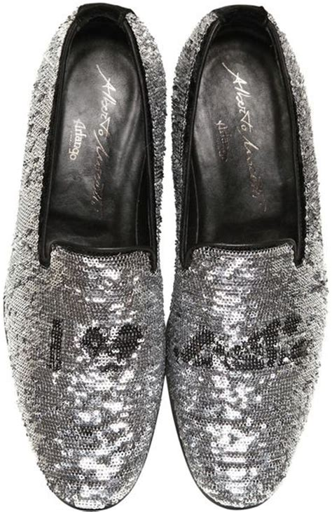 silver loafers mens arfango sequined loafers in silver for black lyst