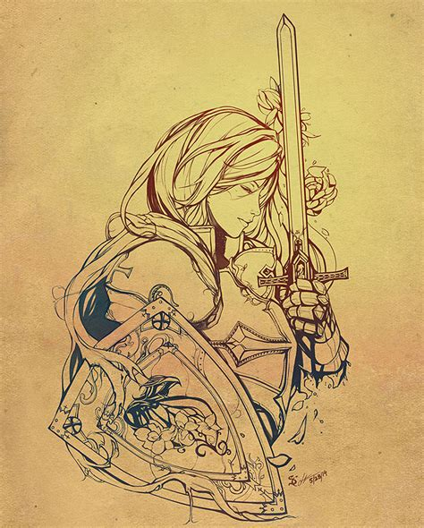 female crusader tattoo line art by scrubbyink on deviantart