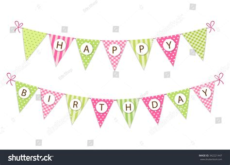 Bunting Flag Happy Birthday Banner Hbd vintage festive fabric pennant banner stock vector 342221447