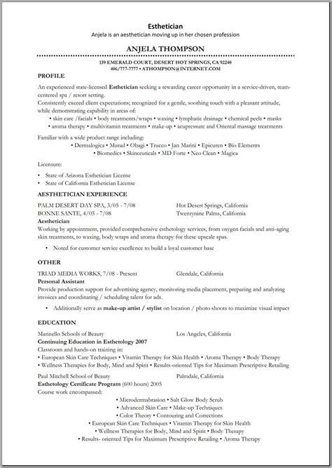 esthetician resume template esthetician resume sle http www resumecareer info