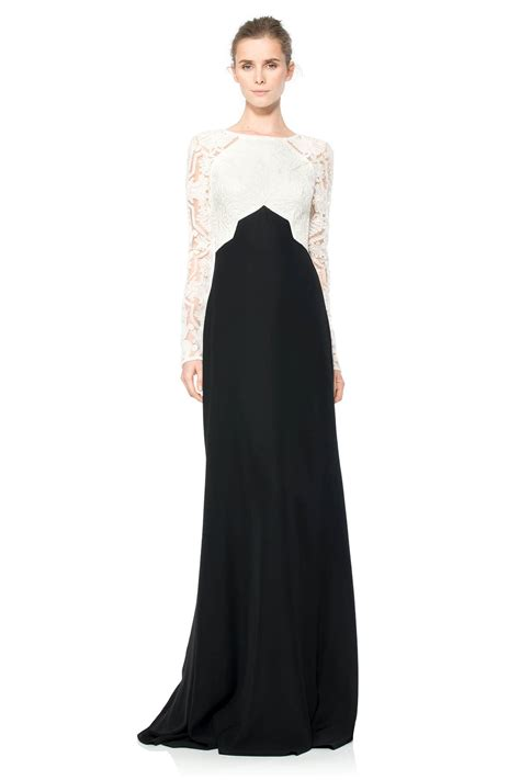 cotton embroidered tulle colorblocked gown tadashi shoji