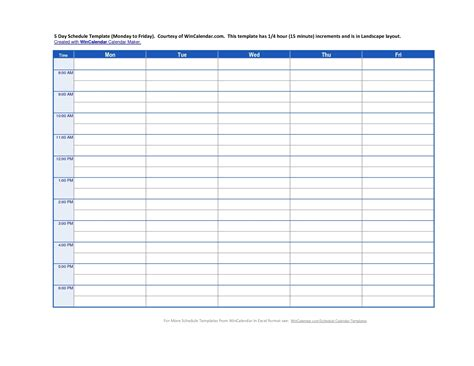 monday through friday calendar template monday through friday schedule template calendar