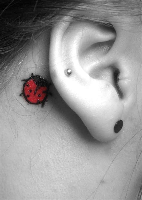 ladybug tattoo behind ear lady bug bird ear tattoo ear tattoo pinterest