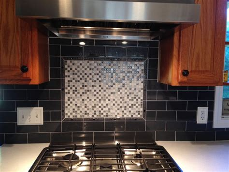 Kitchen Backsplash With Accent 3x6 Charcoal Ceramic Subway With Mosaic Stove Accent