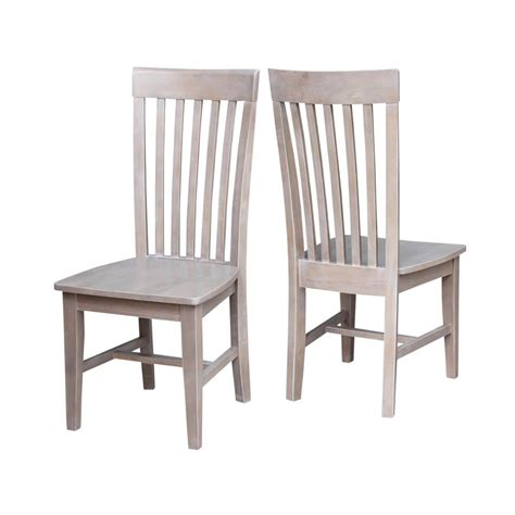 International Concepts Cosmo Weathered Gray Wood Mission Gray Wood Dining Chairs