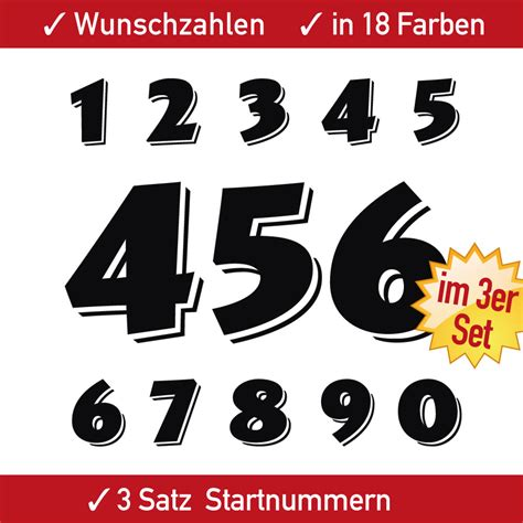 Motorrad Startnummer Aufkleber by 3x3 Zahlen Racing Motorrad Startnummern Aufkleber Auto