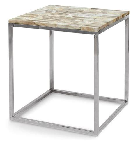 sparrow industrial loft petrified wood square side table