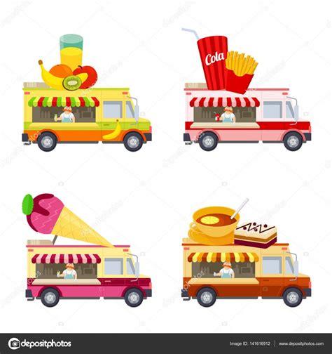 food truck design vector food truck vector flat illustration stock vector