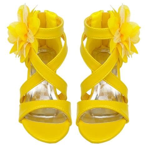 yellow flower shoes dress sandals strappy patent leather flower high heel
