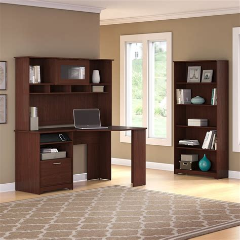 bush cabot corner desk bush cabot corner desk with hutch and 5 shelf bookcase in