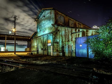 Tacoma Mba Built Green by Tacoma Industrial Building Light Painted Photograph By
