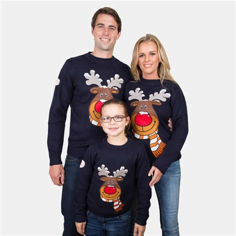Matching Jumpers For Him And Navy Rudolph Jumper From Funky