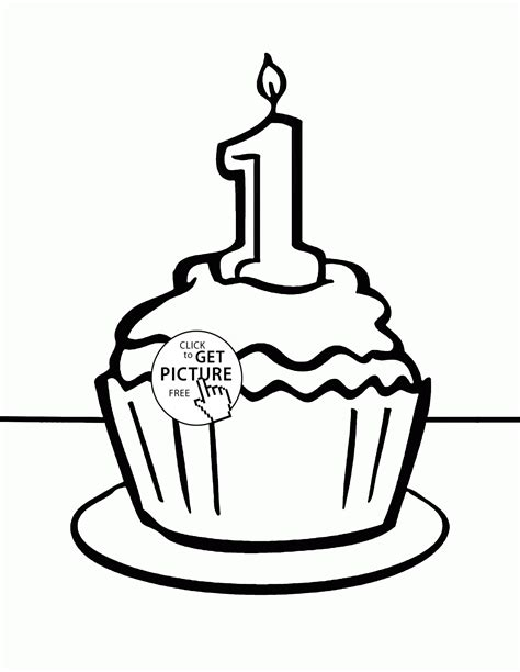 birthday cupcake coloring page birthday cupcake 1st coloring page for kids holiday