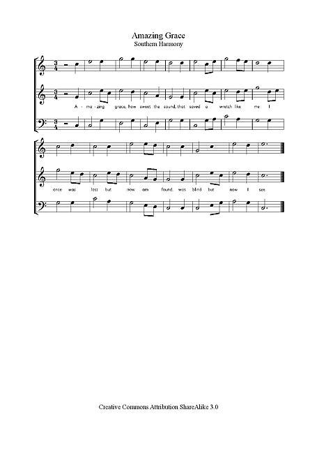 Amazing Grace Voix, SATB - Partitions - Cantorion