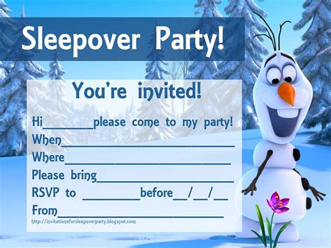 printable olaf party invitations invitations for sleepover party