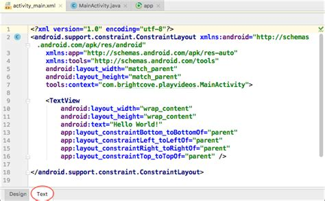 layout of xml file quick start build an app using the brightcove native sdk