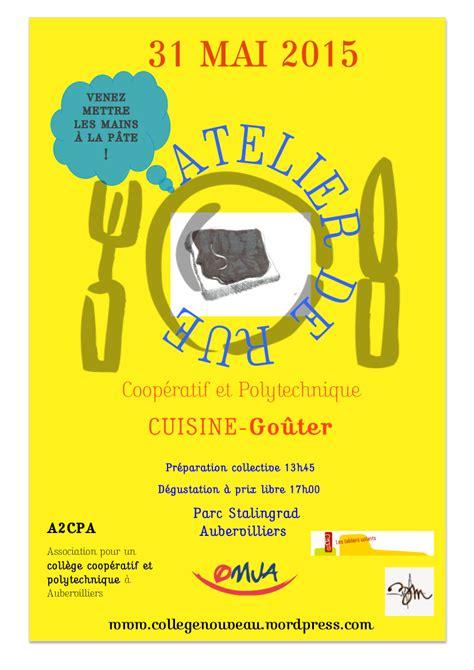 affiches cuisine ateliers de rue rencontres r 233 flexions pour un coll 232 ge