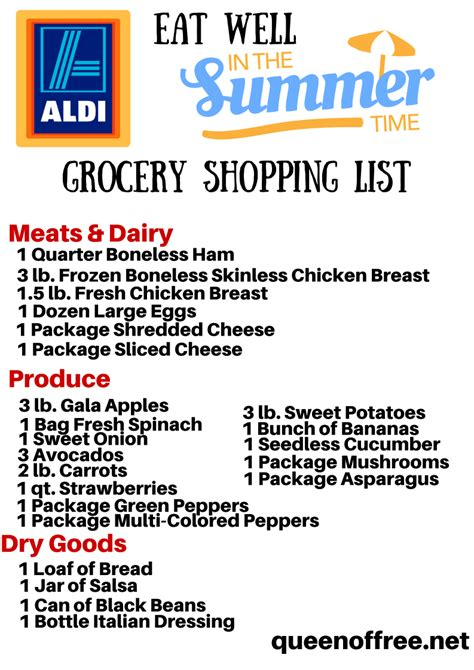 aldi printable shopping list aldi grocery list grocery list template