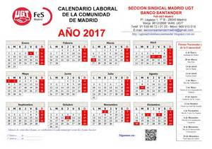 Calendario 2018 Comunidad De Madrid Secci 243 N Sindical De Ugt Madrid En Banco Santander