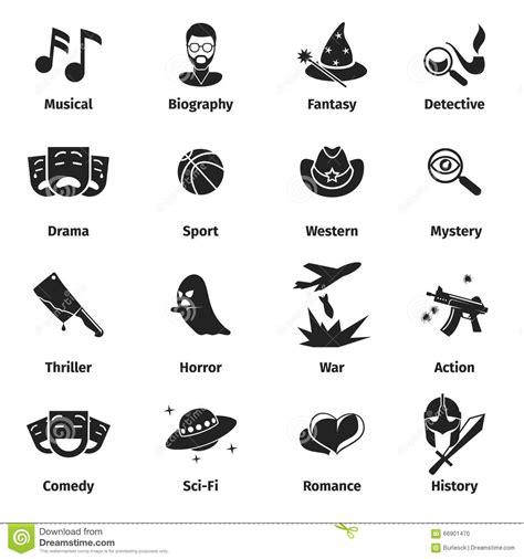 film drama genre movie genres vector icons stock vector image of flat