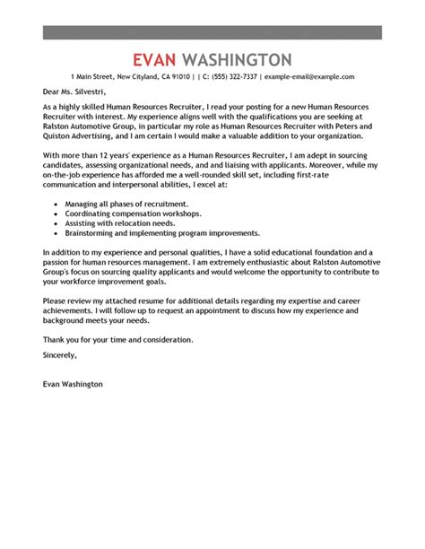 cover letter exle recruiter best recruiting and employment cover letter exles