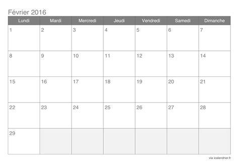 Calendrier Fevrier 2016 Calendrier F 233 Vrier 2016 224 Imprimer Icalendrier