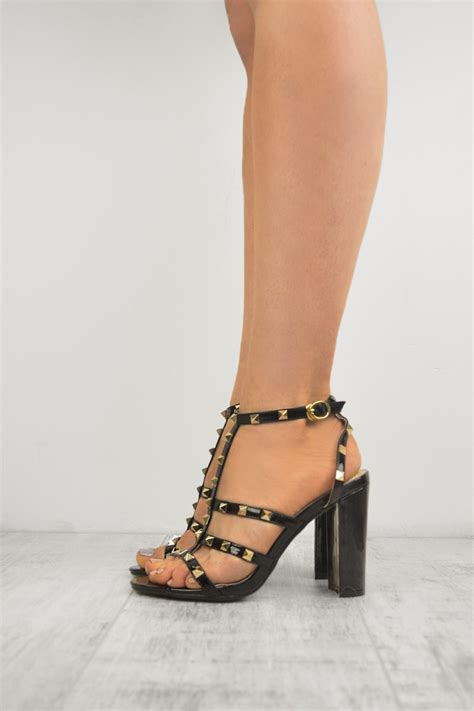 Heels T In Black By black patent studded ankle t bar block high heel