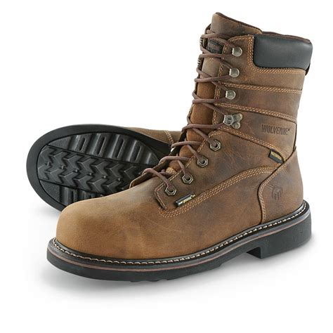 stalen boot wolverine men s brek 8 quot steel toe waterproof work boots