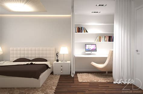 Bedroom: Modern Bedroom Interior Decorating Design Ideas Using Grey Furry Rug And White Wooden