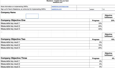 okr template okr report spreadsheet template viablesynergy