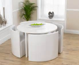 Ontario 120cm white high gloss stowaway dining table and chairs