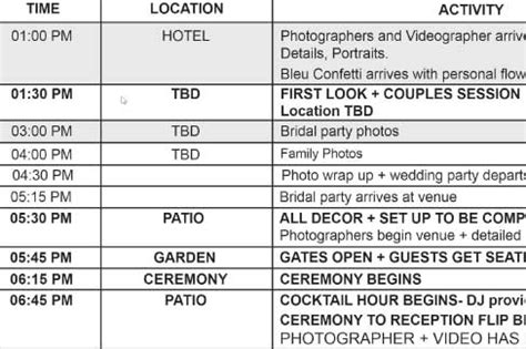 Wedding Photography Timeline Ideal Times For Your Photography Wedding Photography Itinerary Template