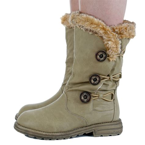 womens beige fur trim flat buttoned calf winter snow warm