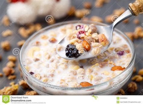 Tropical Muesli Cereal Healthy Food Healthy Breakfast healthy muesli breakfast with nuts and raisin stock images image 34583854