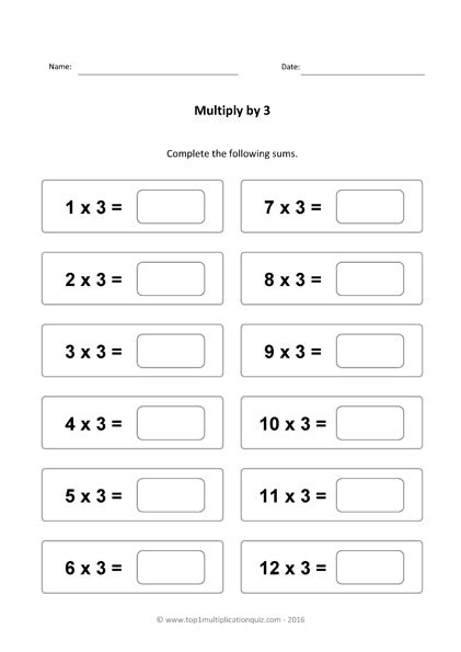 printable multiplication worksheets x3 three times tables practice multiply by 3 quiz worksheets