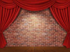 Theater Drapes And Stage Curtains Red Curtains On Brick Wall Background Stock Vector