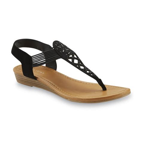 black sandal attention s elliana black embellished wedge sandal