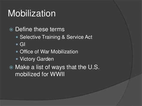 Office Of War Mobilization Definition mobilizing for war